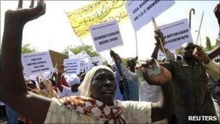 Northern and southern Sudanese at a pro-unity demonstration in Khartoum October 9, 2010