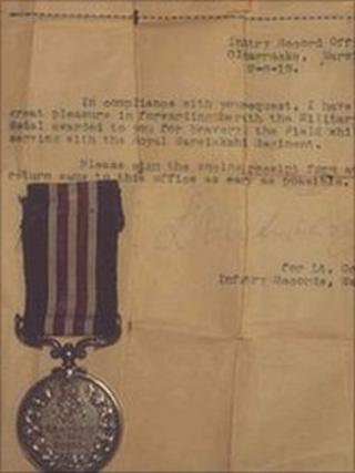 A medal and a letter