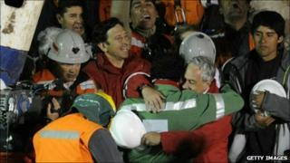 Scene of celebration as the last of the Chilean miner is rescued