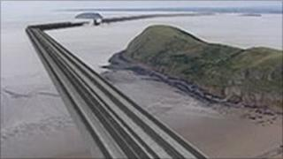 Computer generated imaged of how the Severn barrage could look