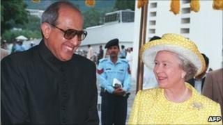 Farooq Leghari with Queen Elizabeth II in 1997