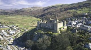 Aerial view of Harlech Castle and town