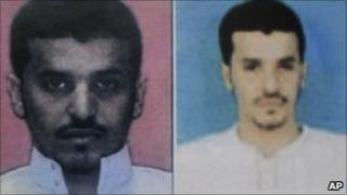 A combination of two photos released by Yemeni officials and said to show Ibrahim Hassan al-Asiri