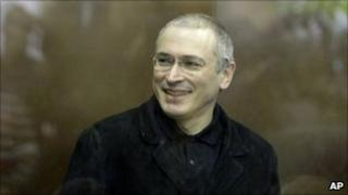 Former Russian oil tycoon Mikhail Khodorkovsky at a court in Moscow, Russia, 2 Nov 2010
