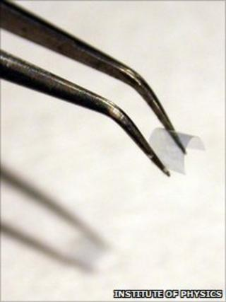 Tweezers holding flexible metamaterial (IoP)