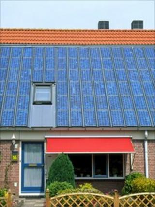Photovoltaic cells on terraced houses