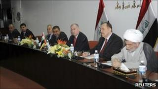 Senior political leaders attend a meeting before a session at the Parliament headquarters in Baghdad, November 13, 2010