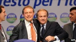 Junior minister Roberto Menia(L), deputy minister Adolfo Urso, Europe Minister Andrea Ronchi and junior minister Antonio Buonfiglio