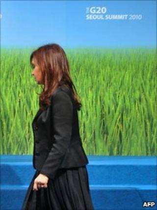 Argentine President Cristina Fernandez at the G20 summit in Seoul
