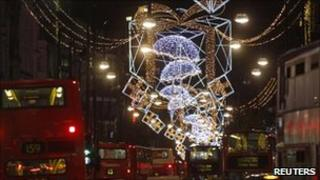 Christmas lights above Oxford Street