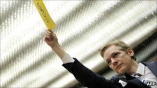 Wikileaks founder Julian Assange at a UN panel, Geneva (5 November 2010)