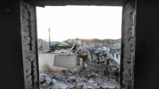 Houses destroyed by North Korean artillery shelling on Yeonpyeong island on 25 November 2010