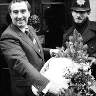 Bernard Matthews holding a 30lb turkey outside No 10 Downing Street in 1979