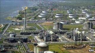 Shell's oil and gas terminal on Bonny Island in southern Nigeria's Niger Delta, pictured in 2005
