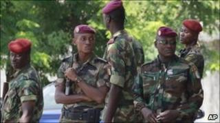 Ivorian soldier on guard at the electoral commission in Abidjan, 1 December 2010