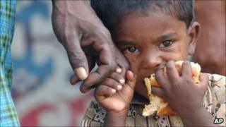 Sri Lankan child after the 2004 tsunami