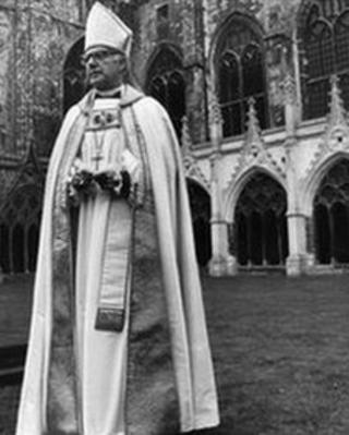Dr Robert Runcie, Archbishop of Canterbury, in the precincts of Canterbury Cathedral in March 1980.