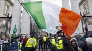 Protesters outside the Irish parliament