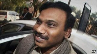 India's former Telecom Minister A Raja at the Central Bureau of Investigation in Delhi on 24 December 2010