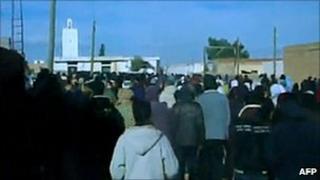 A demonstration in Tunisia's Sidi Bouzid region