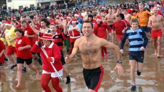 Festive Sea Swimmers Defy Big Freeze Around Wales Bbc News