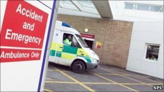 Ambulance at hospital (generic image)