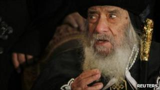 Pope Shenouda at a news conference in Cairo, 2 Jan
