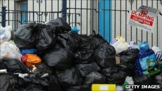 Pile of uncollected rubbish bags in Birmingham