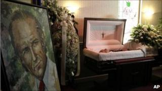 Body of Carlos Andres Perez at a funeral home in Miami on 28 December 2010