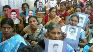 Relatives of missing people in Sri Lanka
