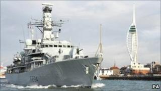 HMS Iron Duke leaves Portsmouth