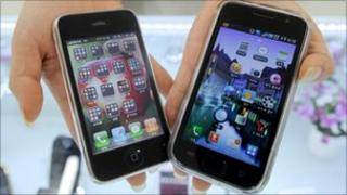 Samsung Galaxy and iPhone