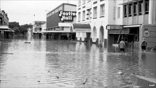 Festival Hall and Albert Street during the Brisbane River flood, 1974