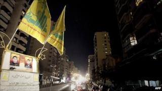 Hezbollah Flags in Beirut. 12 January 2011