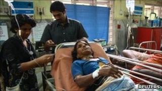 Injured woman in hospital at Kottayam