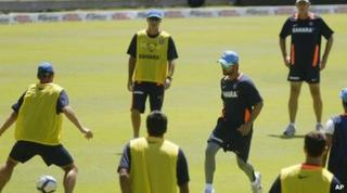 Indian cricket team playing football