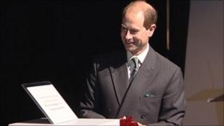Prince Edward unveiling a plaque at the centre