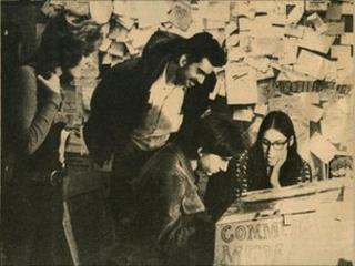 The first Community Memory terminal, at Leopold's Records, Berkeley, CA, 1973. Photo taken by and for the Community Memory Project, first published in the Resource One Newsletter, April 1974, and originally posted to the web in 1996 by Mark Szpakowski