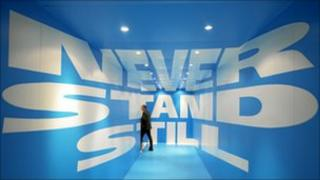 Never stand still sign at the Congress Centre