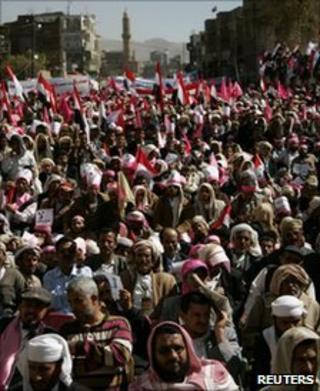 An anti-government rally in Sanaa, 27 January
