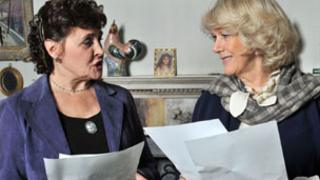 The Duchess of Cornwall (r) with Archers cast member Sara Coward