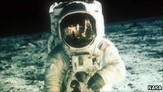 Buzz Aldrin walking on the moon