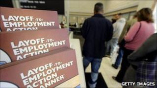 Jobseekers queue at an employment centre in Las Vegas