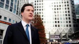 UK chancellor George Osborne in the Canary Wharf financial district of London