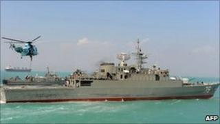 Iran's first home-built frigate Jamaran on its launch in 2010
