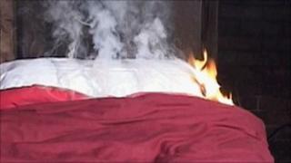 Wheat bag on fire