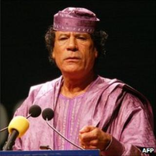 Libyan leader Colonel Muammar Gaddafi addressing the final summit of the Organisation of African Unity (which the African Union succeeded), in Durban, South Africa, July 2002