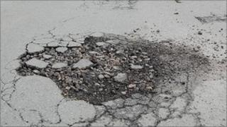 Pothole in Horley, Surrey