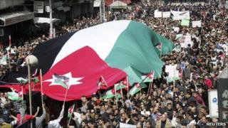 Protesters in Amman, 25 Feb