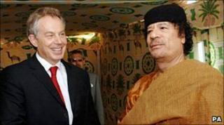 Tony Blair and Muammar Gaddafi